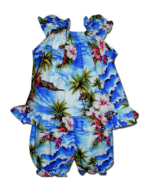 Infant Baby Clothes Set Hookipa Hibiscus Includes a Comfortable Top and Matching Bottom Diaper Cover 100% Cotton Fabric Top with Elastic Neckline Shorts with Elastic Waist Band Color: Blue Sizes: 6 - 24 months Made in Hawaii - USA