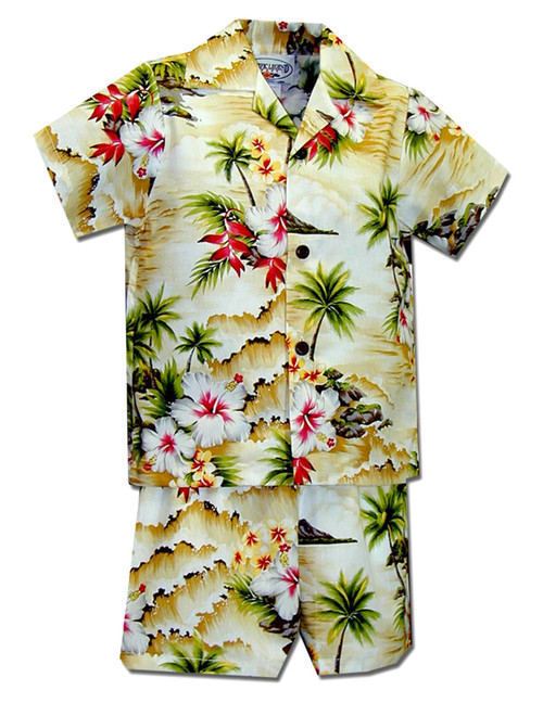 Hookipa Hibiscus Toddler Clothes Set for Boys 100% Cotton Fabric Matching Shorts and Shirt Set Coconut Shell Buttons Color: Maize Sizes: 1T, 2T, 4T, 6T Made in Hawaii - USA