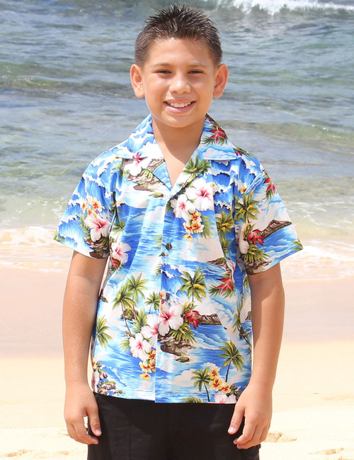 Aloha Boys Surfing Hibiscus Shirt 100% Cotton Coconut shell buttons Machine Wash Cold Cool Iron Color: Blue Sizes: S - XL Made in Hawaii - USA