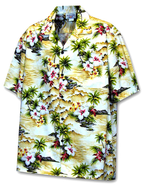 Hookipa Hibiscus Flower Hawaiian Men's Shirt 100% Cotton Fabric Coconut shell buttons Matching left pocket Color: Maize Size: S - 4XL Made in Hawaii - USA