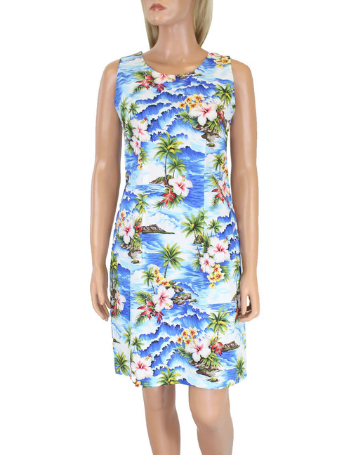 Short Sleeveless Tank Dress Surfing Hibiscus  100% Cotton Fabric Care: Machine Wash Cold, Cool Iron Sleeveless Tank Short Style with Back Zipper Color: Blue Sizes: S - 2XL Made in Hawaii - USA