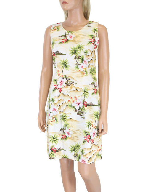 Short Sleeveless Tank Dress Surfing Hibiscus  100% Cotton Fabric Care: Machine Wash Cold, Cool Iron Sleeveless Tank Short Style with Back Zipper Color: Maize Sizes: S - 2XL Made in Hawaii - USA