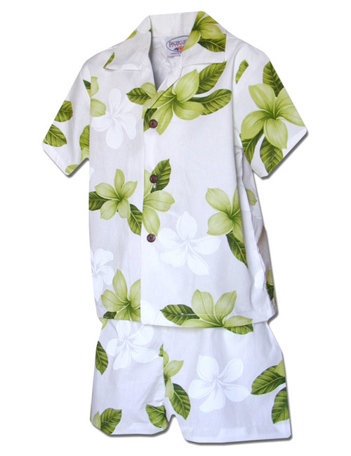 Toddler Clothes Boys Set Koala Hibiscus  100% Cotton Fabric Matching Shorts and Shirt Set Coconut Shell Buttons Color: Lime Sizes: 1T, 2T, 4T, 6T Made in Hawaii - USA