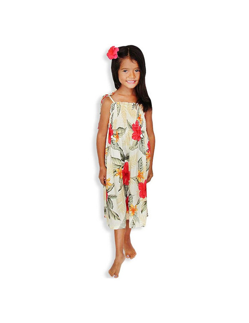 """Girls Beach Dress- Ula Ula Hibiscus 100% Rayon Color: Cream One Size fits All (3 to 12 years old) Length: S:21"""", M:24"""", L:28"""" From the bust Made in Hawaii - USA"""