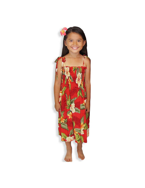 "Ula Ula Hibiscus - Rayon Dress for Girls 100% Rayon Color: Red One Size fits All (3 to 12 years old) Length: 21"", 24"", 28"" From the bust Made in Hawaii - USA"