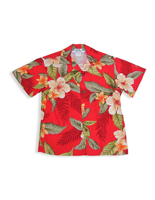Boy Hawaiian Shirt - Ula Ula Hibiscus 100% Rayon  Color: Red Sizes: 1 - 14 Made in Hawaii - USA