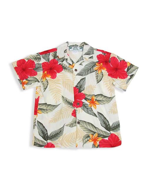 Ula Ula Hibiscus - Boy's Rayon Shirt 100% Rayon Color: Cream  Sizes: 1 - 14 Made in Hawaii - USA