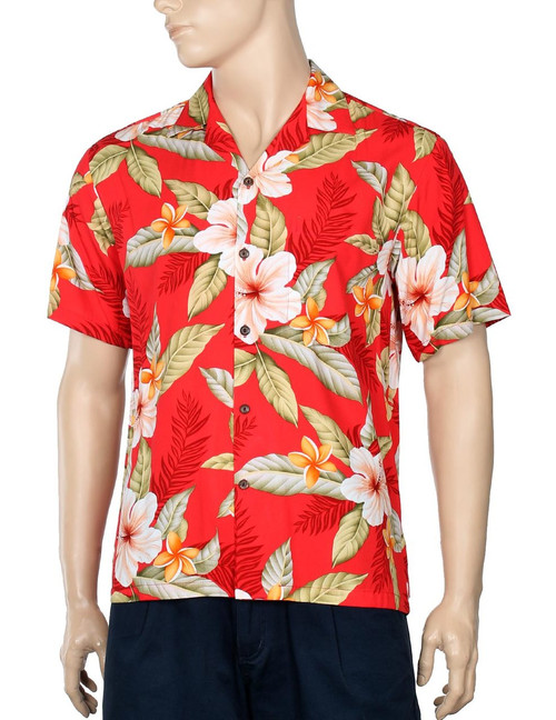 Men Hawaii Shirt Ula Ula Hibiscus Red 100% Rayon - Soft and Classy Open Collar - Relaxed Modern Fit Coconut shell buttons - Matching left pocket Color: Red Sizes: S - 3XL Made in Hawaii - USA