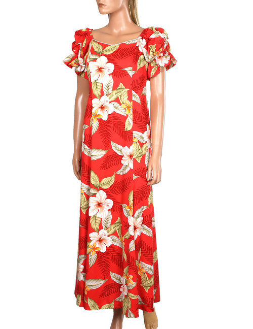 Long Rayon Muumuu Ula Ula Hibiscus 100% Rayon Fabric Color: Red Sizes: S - 2XL Made in Hawaii - USA