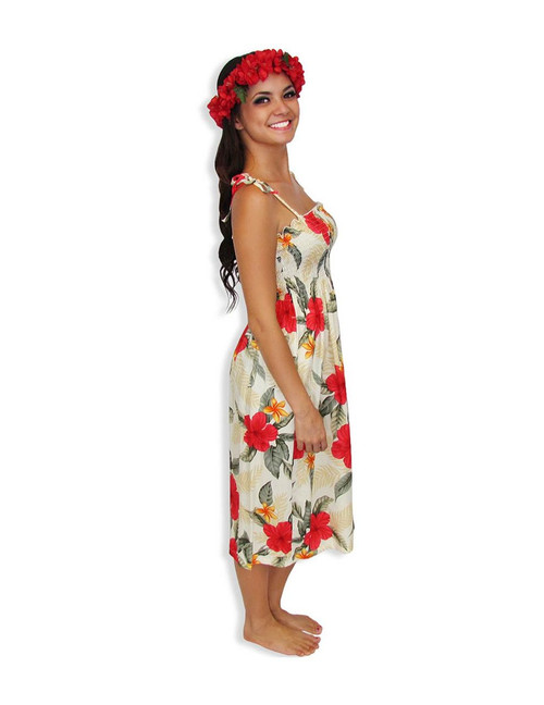 35d3a19a4b5f ... Ula Ula Hibiscus Mid-length Spaghetti Dresses 100% Rayon Color: Cream  Length: ...