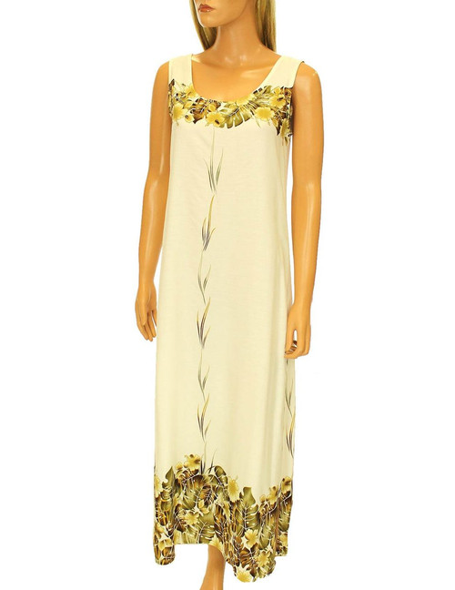 Mahea Full Length Maxi Tank Hawaiian Long Dresses 100% Rayon Soft Fabric Relaxed Fit Round Neckline Sizes: S - 3XL Color: Ivory Made in Hawaii - USA