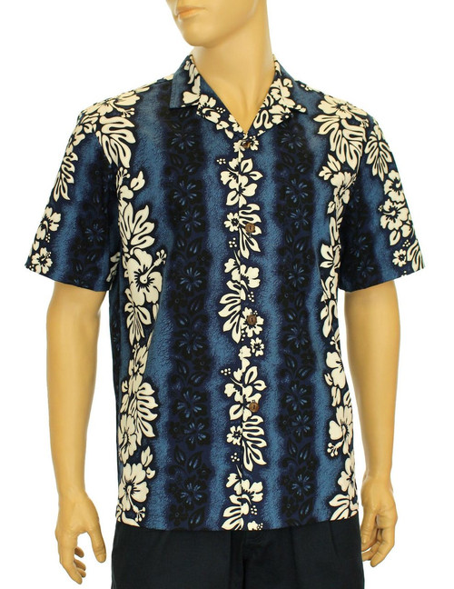 Luna Hawaiian Lei Design Beach Shirt 100% Cotton Fabric Genuine Coconut Buttons Seamless Matching Left Pocket Color: Navy Sizes: S - 2XL Care: Machine Wash Cold, Cool Iron Made in Hawaii - USA