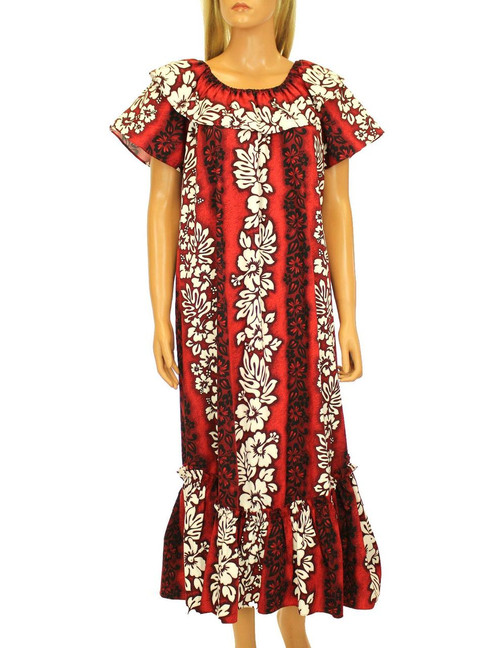 Full Length Ruffled Muumuu Luna Relaxed Fit 100% Cotton Fabric Comfortable and Slimming Pullover Design Flared Skirt Style Color: Red Sizes: S - 3XL Made in Hawaii - USA