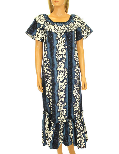 Full Length Ruffled Muumuu Luna Relaxed Fit 100% Cotton Fabric Comfortable and Slimming Pullover Design Flared Skirt Style Color: Navy Sizes: S - 3XL Made in Hawaii - USA