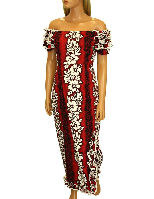 Long Muumuus Dress with Ruffle Hem and Slit Luna Design 100% Cotton Fabric Long Maxi Fitted Style Round Neckline Ruffled Elastic Shoulders Knee-high Side Ruffle Slit Soft Undulating Hem Layout Sizes: S - 3XL Color: Red Made in Hawaii - USA