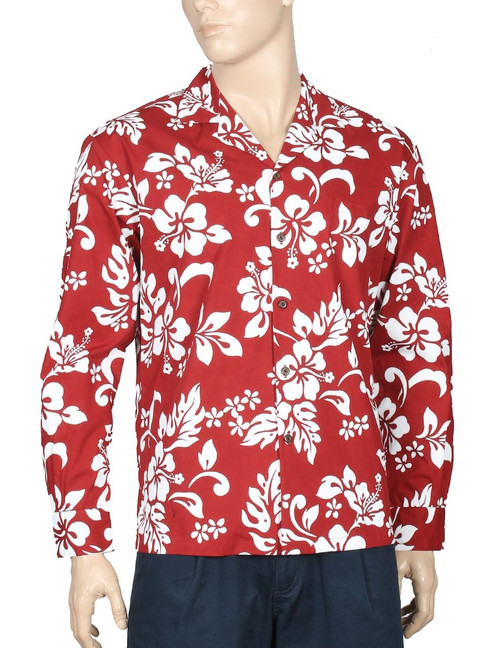 Island Hibiscus Long Sleeve Aloha Shirt Red 100% Cotton Fabric Open Collar Modern Fit Coconut shell buttons Matching left pocket Color: Red Sizes: M - 2XL Made in Hawaii - USA