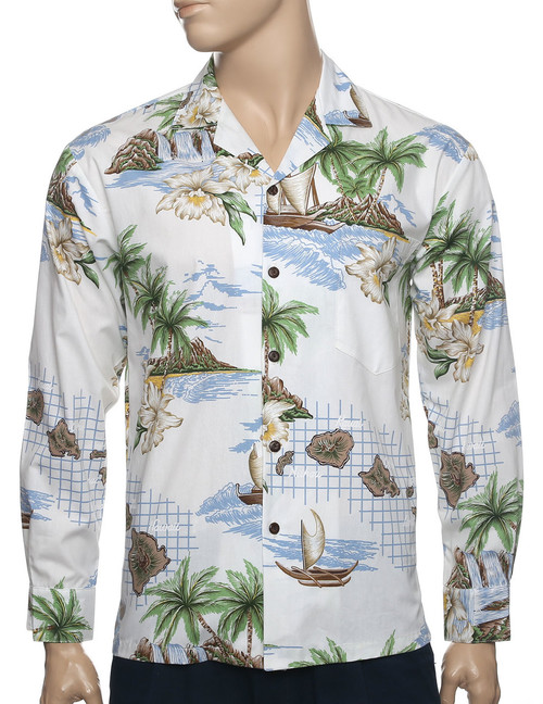 Hawaii Islands Long Sleeve Aloha Shirt White 100% Cotton Fabric Open Collar Modern Fit Coconut shell buttons Matching left pocket Color: White Sizes: M - 2XL Made in Hawaii - USA