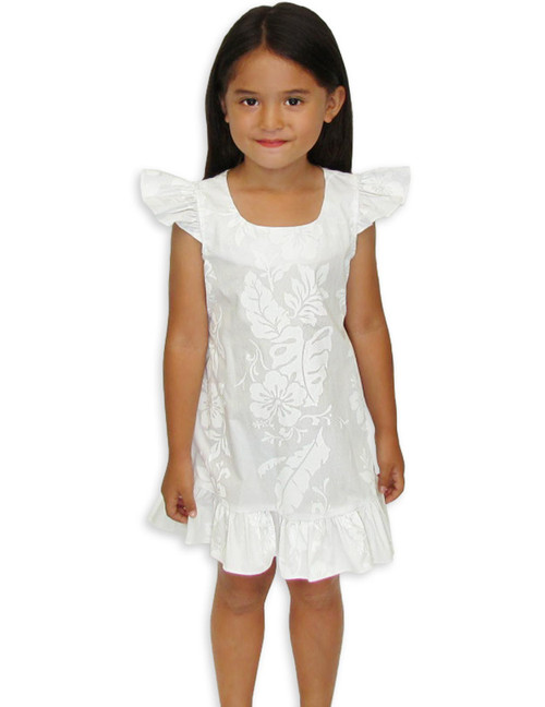 Flower Girl Hawaiian Leis White Dress 100% Cotton Fabric Cap Sleeves and Ruffled Hem Adjustable Ties and Back Zipper Color: White Sizes:  2 - 14 Made in Hawaii - USA