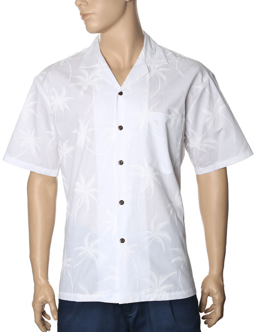 White Palms Hawaiian Wedding Shirt 100% Cotton Fabric - Versatile and Cool Open Collar - Relaxed Fit Coconut shell buttons - Matching left pocket Care: Matchine Wash Cold, Cool Iron Color: White Sizes: S - 3XL Made in Hawaii - USA