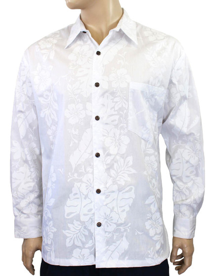 100% Cotton Fabric Coconut shell buttons Matching Left Pocket Color: White Sizes: S - 2XL Made in Hawaii - USA
