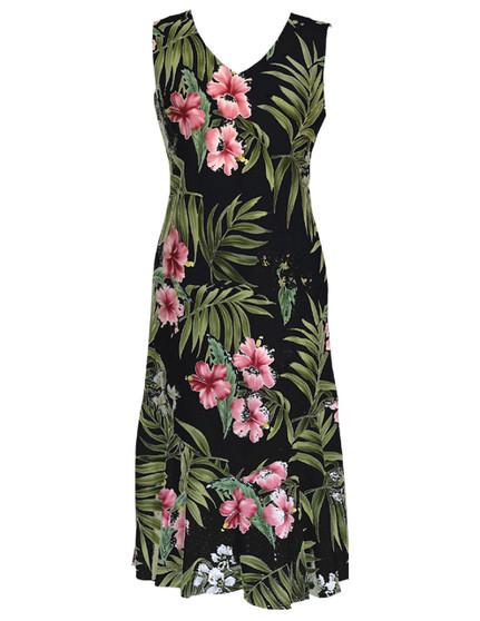 Nalani Maxi Tea Length Sleeveless Rayon Dresses 100% Rayon Fabric Maxi Sleeveless Style Bias Cut V-Neck Mid Calf Length Comfortable Dress Style Colors: Black Sizes: XS - 3XL Made in Hawaii - USA