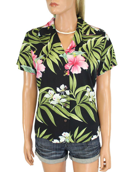 Rayon Hawaiian Shirt for Women Nalani Design 100% Rayon Fabric Slimming Darted Back Bust Dart Cap Sleeves Comfortable Fit Design Coconut Shell Buttons Multi Color Selection Colors: Black Sizes: XS - 2XL Made in Hawaii - USA Matching Items Available