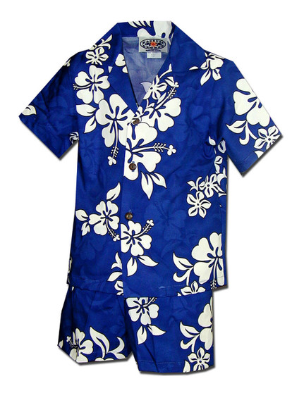 Boys Aloha Toddler Set - Tropical Hibiscus 100% Cotton Coconut Shell Buttons Colors: Blue Sizes: 1T, 2T, 4T, 6T Made in Hawaii - USA