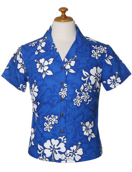 Fitted Hawaiian Floral Blouse White Hibiscus 100% Cotton Fabric Genuine Coconut Shell Buttons Colors: Blue Sizes: XS - 2XL Made in Hawaii - USA Matching Items Available