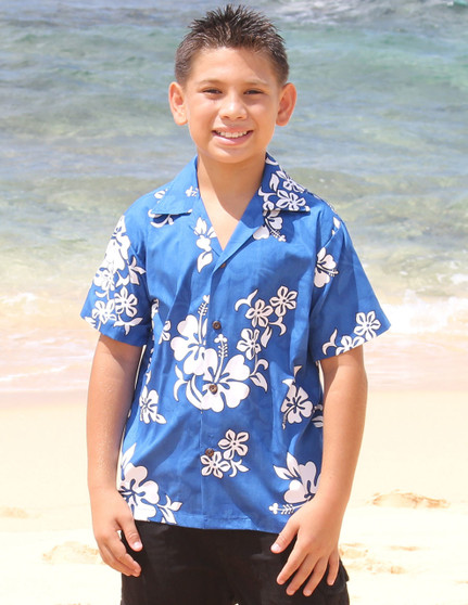 Boys Aloha Shirt Tropical Hibiscus 100% Cotton Fabric Coconut shell buttons Color: Blue Sizes: S - XL Care: Machine Wash Cold, Cool Iron Made in Hawaii - USA