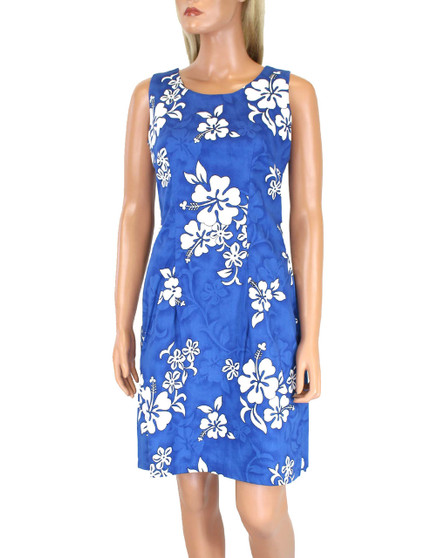 Cotton Short Tank Tropical Hibiscus Dress 100% Cotton Fabric Colors: Blue Sizes: S - 2XL Zipper on Back Made in Hawaii - USA