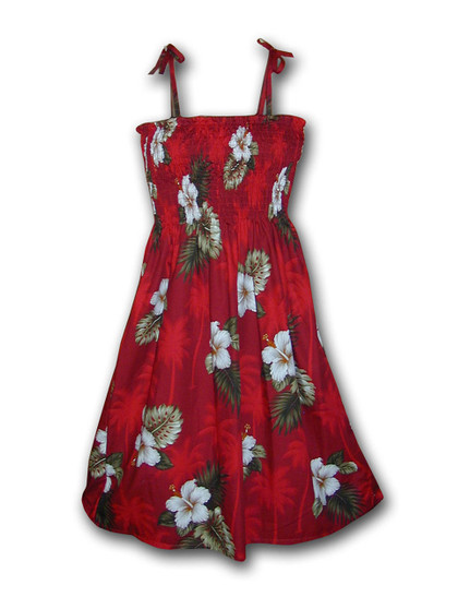 """Tube Top Mid Length Spaghetti Ka Pua Dress 100% Cotton Color: Red Length: 33"""" (mid size) Size: One Size fits most From: S - 2XL Made in Hawaii - USA Matching Items Available"""