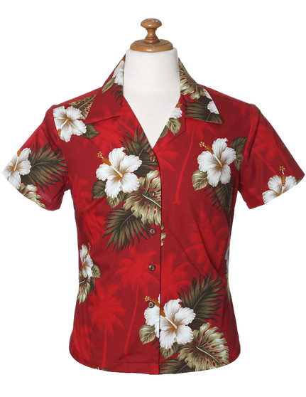 Ka Pua Fitted Hawaiian Blouse 100% Cotton Fabric Coconut shell buttons Colors: Red Sizes: XS - 2XL Made in Hawaii - USA
