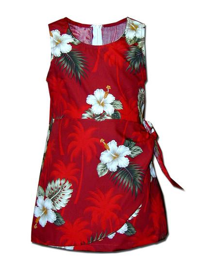 Girls Aloha Sarong Dress Ka Pua 100% Cotton Fabric Tank Shoulder Straps Adjustable Waist Sarong Front Flap Back Zipper Colors: Red Sizes: 8 - 14 Made in Hawaii - USA
