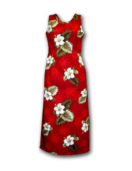 "Long Maxi Tank Straps Ka Pua Dress 100% Cotton 1 Slit - 20"" Long on Left Side Colors: Red Sizes: S - 2XL Zipper on Back Made in Hawaii - USA Matching Items Available"