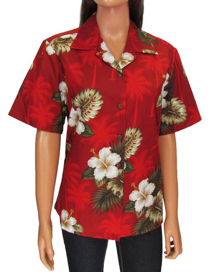 Aloha Camp Blouse - Ka Pua 100% Cotton Loose Design Coconut shell buttons Colors: Red Sizes: S - 2XL Made in Hawaii - USA