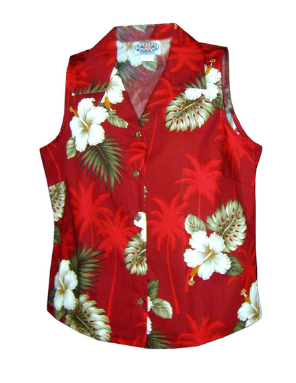 Ka Pua Floral Sleeveless Blouses 100% Cotton Coconut shell buttons Colors: Red Sizes: S - 2XL Made in Hawaii - USA Matching Items Available