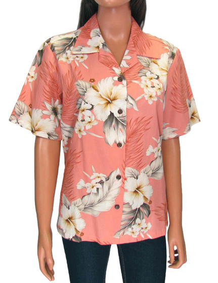 Hawaiian Women Camp Blouse - Lanai 100% Cotton Loose Design Coconut shell buttons Colors: Peach Sizes: S - 2XL Made in Hawaii - USA