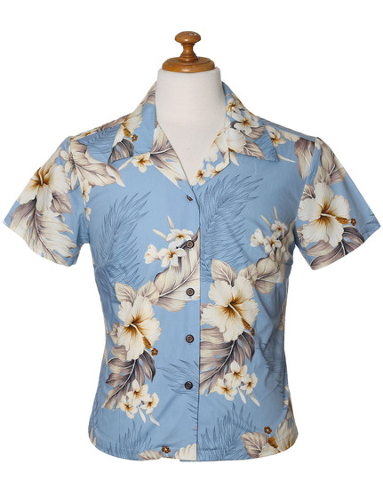 Fitted Floral Blouse for Women Lanai 100% Cotton Coconut shell buttons Colors: Blue Sizes: XS - 2XL Made in Hawaii - USA