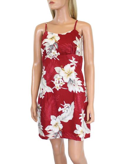 Short Spaghetti Hawaiian Dress Sunflower Hibiscus 100% Cotton Fabric Colors: Peach, Blue, Red, Navy Sizes: S - XL Made in Hawaii - USA
