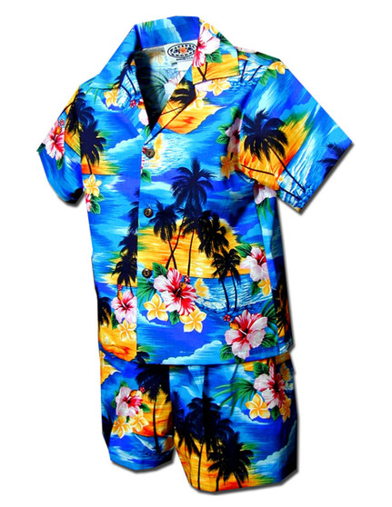 Toddler Clothes Set Sunset Hawaiian Islands 100% Cotton Fabric Matching Shorts and Shirt Set Coconut Shell Buttons Colors: Blue Sizes: 1T, 2T, 4T, 6T Made in Hawaii - USA
