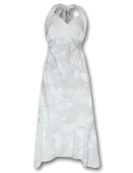White Wedding Mid Length La'ele Halter Hawaiian Dress 100% Cotton Fabric Halter Neckline with Adjustable Straps Pullover Bias Fit Dress with Elastic Back Color: White Sizes: S - 2XL Made in Hawaii - USA