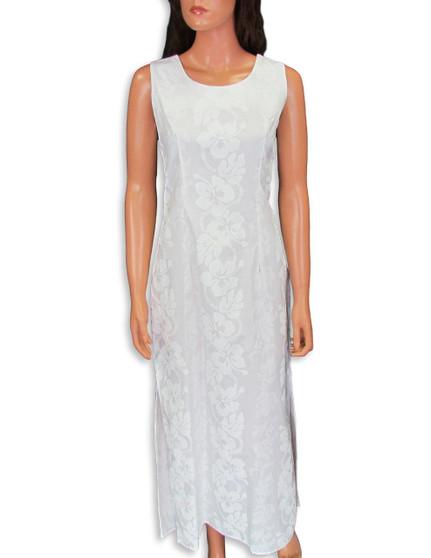 Hibiscus Leis Long Hawaiian Wedding Dress Sleeveless 100% Cotton Fabric 2 Sides Hem Slits 18 Inches Long Back Zipper Sleeveless Maxi Dress Style Color: White Sizes: S - 2XL Made in Hawaii - USA