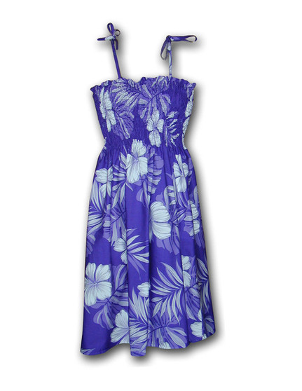 """Palekaiko Mid Length Spaghetti Tube-top Dress 100% Cotton Color: Purple Length: 33"""" (mid size) Size: One Size fits most From: S - 2XL Made in Hawaii - USA Matching Items Available"""