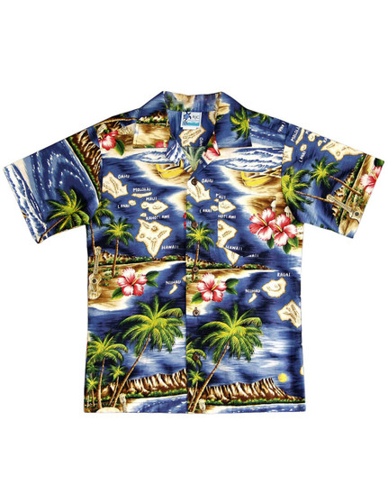 Boys Aloha Shirt Polynesian Island 100% Cotton Fabric Open Pointed Folded Collar Genuine Coconut Buttons Machine Wash Cold Cool Iron Colors:  Navy Sizes: 2 - 16 Made in Hawaii - USA