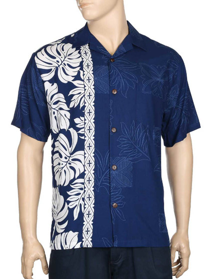 Price Kuhio Premium Aloha Shirt Side Band 100% Rayon Fabric Open Pointed Folded Collar Genuine Coconut Buttons Seamless Matching Left Pocket Colors: Navy Sizes: S - 3XL Care: Handwash - Line Dry Made in Hawaii - USA