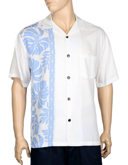 Price Kuhio Premium Aloha Shirt Wedding Design 100% Rayon Fabric Open Pointed Folded Collar Genuine Coconut Buttons Seamless Matching Left Pocket Colors: White/Blue Sizes: S - 3XL Care: Hand-Wash - Line Dry Made in Hawaii - USA