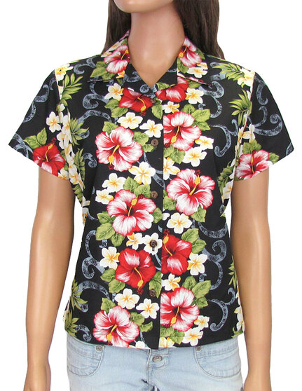 Hawaiian Women Fitted Blouse Big Island 100% Cotton Fabric Genuine Coconut Shell Buttons Short Sleeves Fitted Style Blouse Front and Back Darts Color: Black Sizes: S - 2XL Made in Hawaii - USA