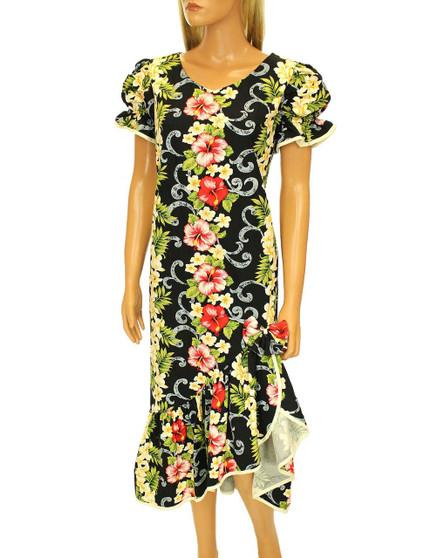 Mid Length Big Island Ruffled Muumuu Dress 100% Cotton Fabric V-Neckline Heart Shaped Elastic Piped Design Sleeves Back Zipper Asymmetrical Ruffled Hemline Color: Black Sizes S – 2XL Made in Hawaii - USA