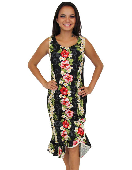 Black Mid Length Tank Style Big Island Dress 100% Cotton Fabric Color: Black Sizes: XS - 4XL Scoop Neckline Ruffled Tier High Low Hem Made in Hawaii - USA