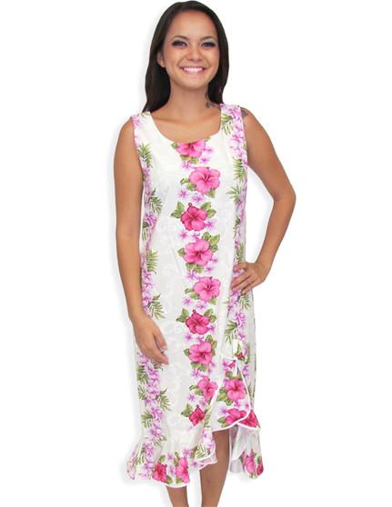 Hawaiian Midi Wedding Dress Big Island with Asymmetric Hem 100% Cotton Fabric Color: White Sizes: XS - 4XL Scoop Neckline and Sleeveless Style High Low Hem Design Made in Hawaii - USA